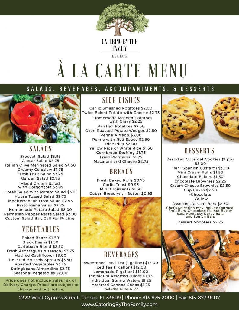 À La Carte Menu - Salads, Beverages, Accompaniments and Dessert
