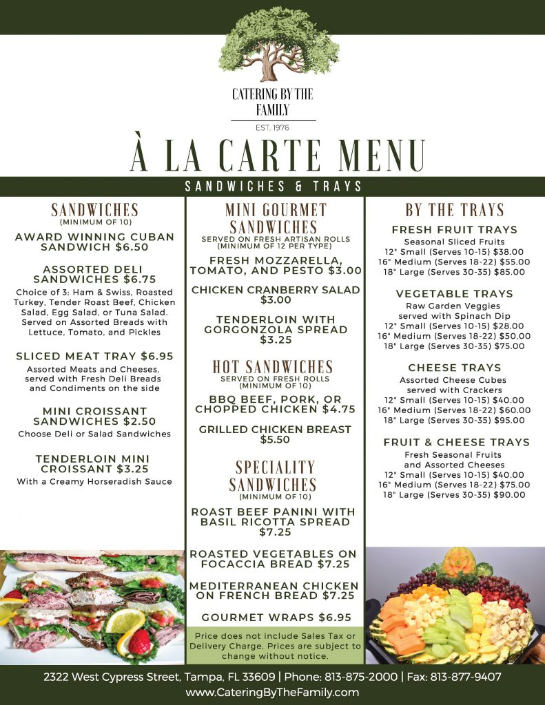 À La Carte Menu - Sandwiches and Trays