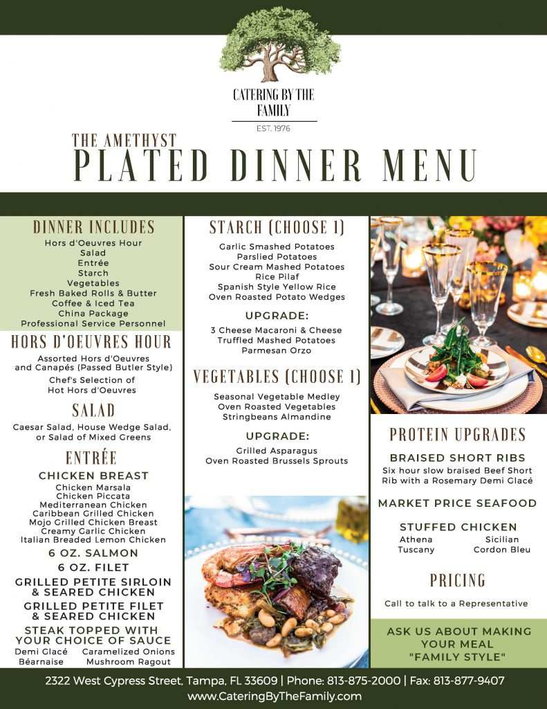 Amethyst Plated Dinner Menu