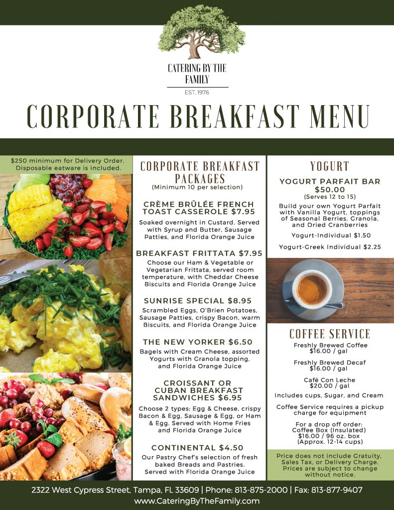 Corporate Breakfast Menu