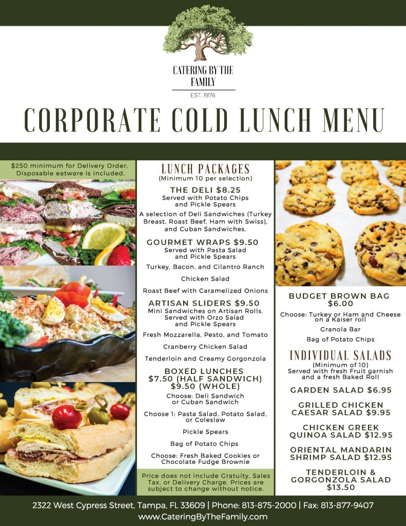 Corporate Cold Lunch Packages