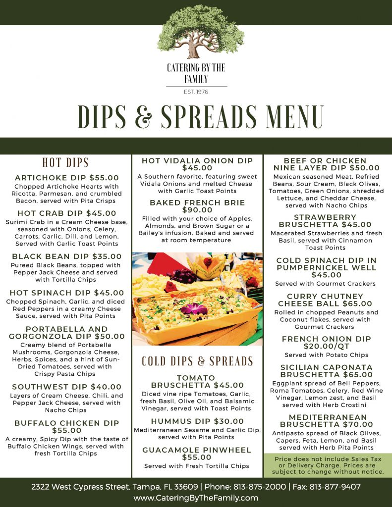 Dips and Spreads Menu