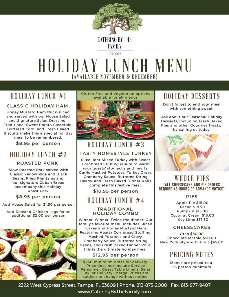 Holiday Lunch Menu