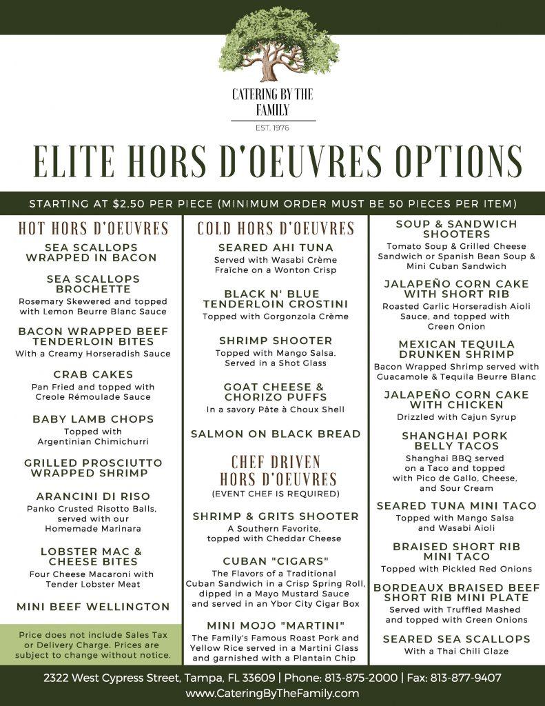 Hors D'Oeuvres Menu - Elite