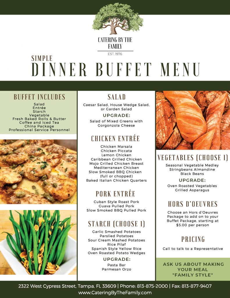 Simple Dinner Buffet Menu