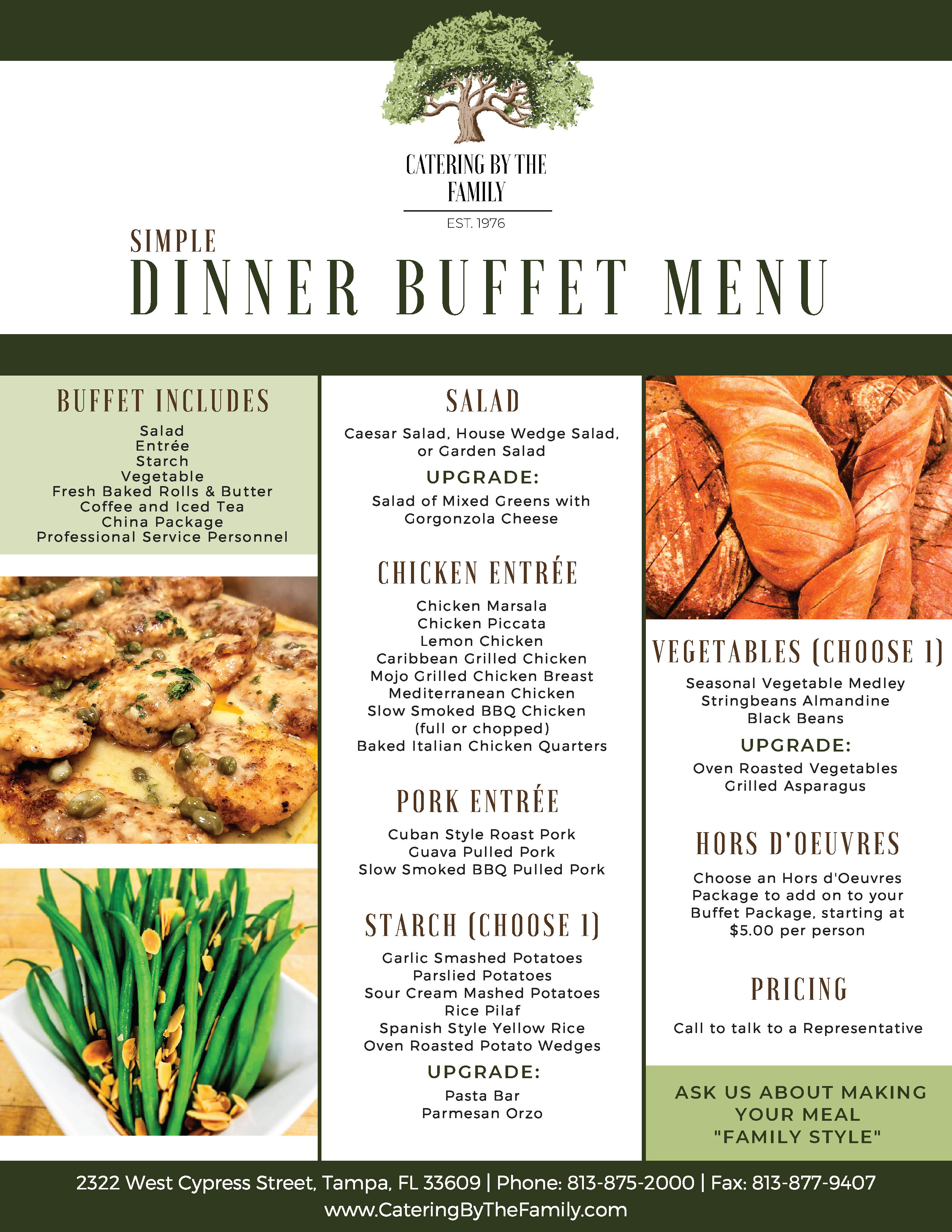 Wedding Menus Catering By The Family
