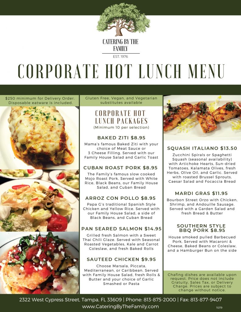 Corporate Hot Lunch Packages