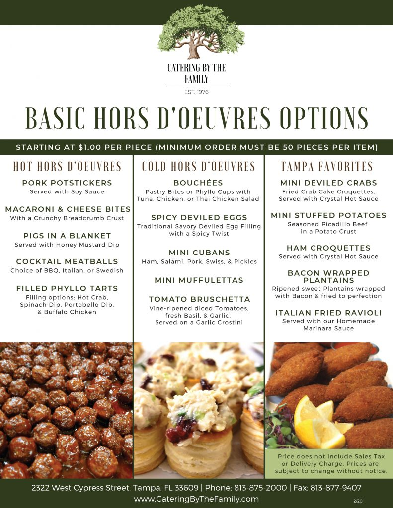 Hors D'oeuvres Menu - Basic