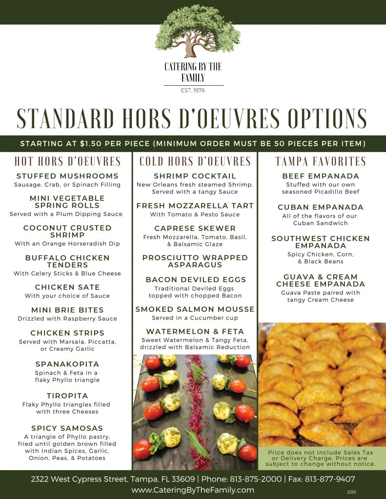 Hors D'Oeuvres Menu - Standard